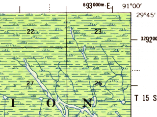 Reduced fragment of topographic map en--usgs--063k--057880--(1954)--N029-45_W091-15--N029-30_W091-00; towns and cities Morgan City, Amelia, Berwick