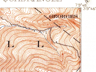 Reduced fragment of topographic map en--usgs--063k--057885--(1902)--N039-45_W080-00--N039-30_W079-45; towns and cities Morgantown, Westover, Brookhaven, Cheat Lake