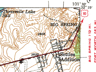 Reduced fragment of topographic map en--usgs--063k--057887--(1941)--N032-15_W101-45--N032-00_W101-30 in area of Natural Dam Salt Lake