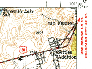 Reduced fragment of topographic map en--usgs--063k--057887--(1949)--N032-15_W101-45--N032-00_W101-30 in area of Natural Dam Salt Lake
