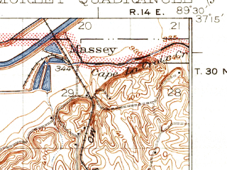 Reduced fragment of topographic map en--usgs--063k--057889--(1934)--N037-15_W089-45--N037-00_W089-30; towns and cities Oran, Scott City, Benton