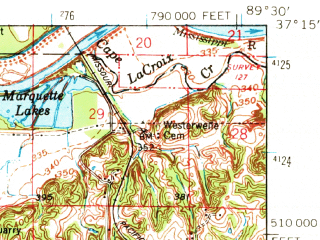 Reduced fragment of topographic map en--usgs--063k--057889--(1963)--N037-15_W089-45--N037-00_W089-30; towns and cities Oran, Scott City, Benton