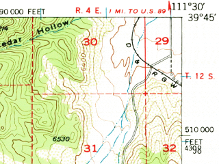 Reduced fragment of topographic map en--usgs--063k--057893--(1951)--N039-45_W111-45--N039-30_W111-30; towns and cities Moroni, Fountain Green