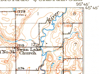 Reduced fragment of topographic map en--usgs--063k--057897--(1912)--N045-45_W096-00--N045-30_W095-45 in area of North Pomme De Terre Lake; towns and cities Morris