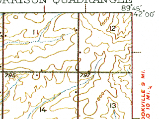 Reduced fragment of topographic map en--usgs--063k--057900--(1934)--N042-00_W090-00--N041-45_W089-45; towns and cities Coleta, Milledgeville, Morrison