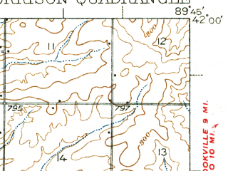 Reduced fragment of topographic map en--usgs--063k--057900--(1940)--N042-00_W090-00--N041-45_W089-45; towns and cities Coleta, Milledgeville, Morrison