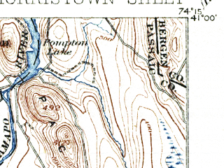 Reduced fragment of topographic map en--usgs--063k--057904--(1906)--N041-00_W074-30--N040-45_W074-15 in area of Jersey City Reservoir; towns and cities Parsippany-troy Hills Township, West Orange, Livingston, Hanover Township, Morristown