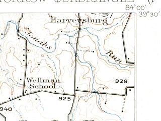 Reduced fragment of topographic map en--usgs--063k--057906--(1914)--N039-30_W084-15--N039-15_W084-00; towns and cities Lebanon, Maineville, Morrow, Pleasant Plain