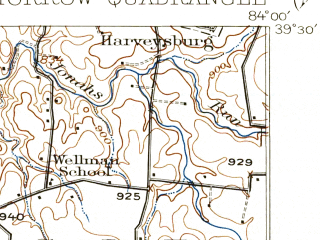 Reduced fragment of topographic map en--usgs--063k--057906--(1916)--N039-30_W084-15--N039-15_W084-00; towns and cities Lebanon, Butlerville, South Lebanon, Harveysburg