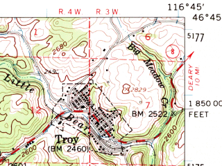 Reduced fragment of topographic map en--usgs--063k--057915--(1961)--N046-45_W117-00--N046-30_W116-45; towns and cities Moscow, Genesee, Troy