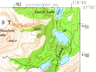 Reduced fragment of topographic map en--usgs--063k--057928--(1953)--N037-30_W119-00--N037-15_W118-45 in area of Lake Italy, Grinnell Lake, Royce Lakes