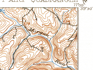 Reduced fragment of topographic map en--usgs--063k--057931--(1909)--N039-30_W077-15--N039-15_W077-00; towns and cities Damascus, Green Valley, Mount Airy