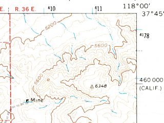 Reduced fragment of topographic map en--usgs--063k--057939--(1962)--N037-45_W118-15--N037-30_W118-00