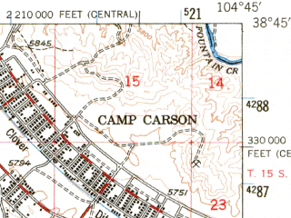 Reduced fragment of topographic map en--usgs--063k--057940--(1948)--N038-45_W105-00--N038-30_W104-45; towns and cities Fort Carson