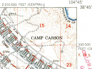 Reduced fragment of topographic map en--usgs--063k--057940--(1951)--N038-45_W105-00--N038-30_W104-45; towns and cities Fort Carson