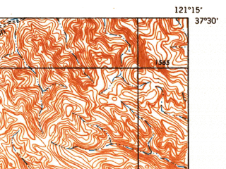 Reduced fragment of topographic map en--usgs--063k--057942--(1942)--N037-30_W121-30--N037-15_W121-15