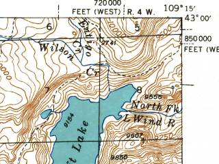 Reduced fragment of topographic map en--usgs--063k--057944--(1941)--N043-00_W109-30--N042-45_W109-15