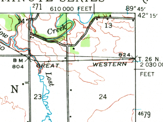 Reduced fragment of topographic map en--usgs--063k--057948--(1942)--N042-15_W090-00--N042-00_W089-45; towns and cities Chadwick, Lanark, Mount Carroll
