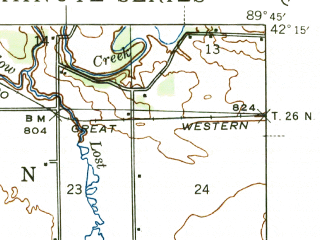 Reduced fragment of topographic map en--usgs--063k--057948--(1944)--N042-15_W090-00--N042-00_W089-45; towns and cities Chadwick, Lanark, Mount Carroll