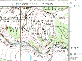 Reduced fragment of topographic map en--usgs--063k--057959--(1935)--N039-15_W106-30--N039-00_W106-15 in area of Twin Lake Reservoir; towns and cities Leadville