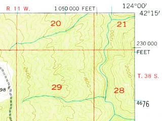 Reduced fragment of topographic map en--usgs--063k--057962--(1954)--N042-15_W124-15--N042-00_W124-00