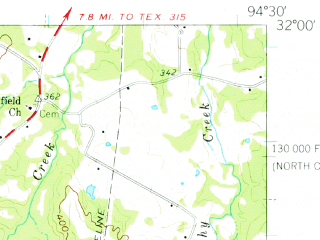Reduced fragment of topographic map en--usgs--063k--057963--(1960)--N032-00_W094-45--N031-45_W094-30; towns and cities Mount Enterprise