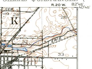 Reduced fragment of topographic map en--usgs--063k--057981--(1913)--N040-45_W083-00--N040-30_W082-45; towns and cities Galion, Caledonia, Edison, Mount Gilead
