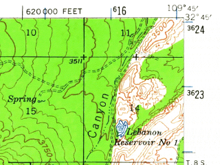 Reduced fragment of topographic map en--usgs--063k--057984--(1942)--N032-45_W110-00--N032-30_W109-45