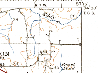 Reduced fragment of topographic map en--usgs--063k--058016--(1940)--N034-30_W087-30--N034-15_W087-15; towns and cities Moulton