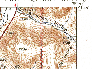 Reduced fragment of topographic map en--usgs--063k--058021--(1940)--N041-45_W078-45--N041-30_W078-30 in area of East Branch Lake; towns and cities Mount Jewett