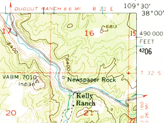 Reduced fragment of topographic map en--usgs--063k--058046--(1954)--N038-00_W109-45--N037-45_W109-30