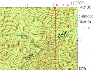 Reduced fragment of topographic map en--usgs--063k--058095--(1951)--N048-30_W116-15--N048-15_W116-00