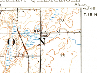 Reduced fragment of topographic map en--usgs--063k--058102--(1919)--N043-45_W085-00--N043-30_W084-45; towns and cities Mount Pleasant, Beal City, Rosebush, Weidman