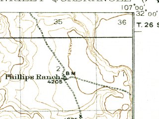 Reduced fragment of topographic map en--usgs--063k--058104--(1929)--N032-00_W107-15--N031-45_W107-00