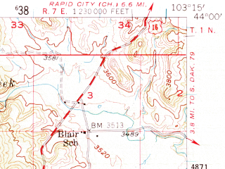 Reduced fragment of topographic map en--usgs--063k--058107--(1954)--N044-00_W103-30--N043-45_W103-15; towns and cities Keystone