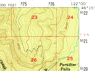 Reduced fragment of topographic map en--usgs--063k--058116--(1958)--N046-15_W122-15--N046-00_W122-00 in area of Swift Creek Reservoir