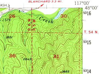 Reduced fragment of topographic map en--usgs--063k--058121--(1950)--N048-00_W117-15--N047-45_W117-00 in area of Newman Lake; towns and cities Hauser