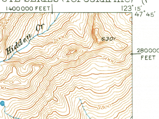 Reduced fragment of topographic map en--usgs--063k--058122--(1950)--N047-45_W123-30--N047-30_W123-15