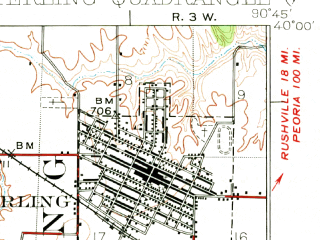 Reduced fragment of topographic map en--usgs--063k--058123--(1926)--N040-00_W091-00--N039-45_W090-45; towns and cities Mount Sterling