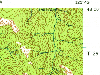 Reduced fragment of topographic map en--usgs--063k--058132--(1957)--N048-00_W124-00--N047-45_W123-45