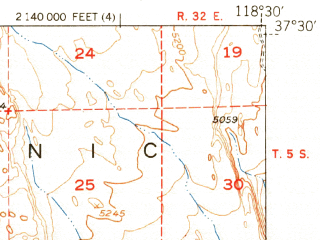 Reduced fragment of topographic map en--usgs--063k--058133--(1951)--N037-30_W118-45--N037-15_W118-30 in area of Desolation Lake