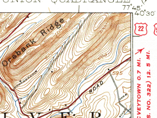 Reduced fragment of topographic map en--usgs--063k--058135--(1924)--N040-30_W078-00--N040-15_W077-45; towns and cities Kistler, Mapleton, Mill Creek