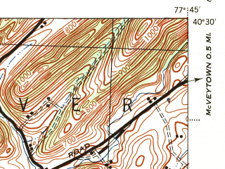 Reduced fragment of topographic map en--usgs--063k--058135--(1944)--N040-30_W078-00--N040-15_W077-45; towns and cities Kistler, Mapleton, Mill Creek