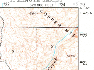 Reduced fragment of topographic map en--usgs--063k--058138--(1935)--N041-45_W115-45--N041-30_W115-30