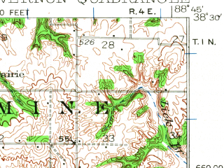 Reduced fragment of topographic map en--usgs--063k--058142--(1933)--N038-30_W089-00--N038-15_W088-45; towns and cities Mount Vernon, Dix, Kell