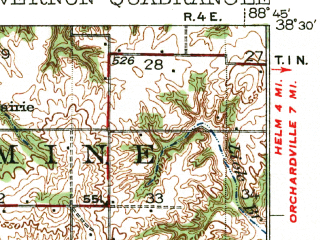Reduced fragment of topographic map en--usgs--063k--058142--(1940)--N038-30_W089-00--N038-15_W088-45; towns and cities Mount Vernon, Dix, Kell