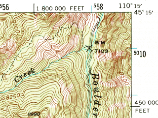Reduced fragment of topographic map en--usgs--063k--058143--(1940)--N045-15_W110-30--N045-00_W110-15