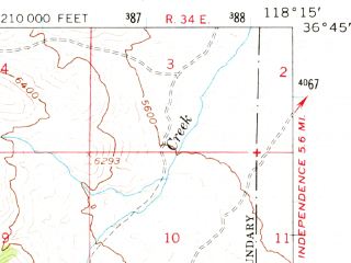 Reduced fragment of topographic map en--usgs--063k--058145--(1967)--N036-45_W118-30--N036-30_W118-15