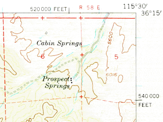 Reduced fragment of topographic map en--usgs--063k--058155--(1957)--N036-15_W115-45--N036-00_W115-30