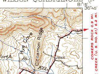 Reduced fragment of topographic map en--usgs--063k--058165--(1940)--N036-45_W081-30--N036-30_W081-15; towns and cities Troutdale